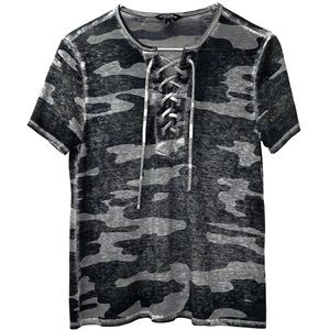 LUCKY BRAND CAMO LACE UP SHORT SLEEVE TEE SIZE XS